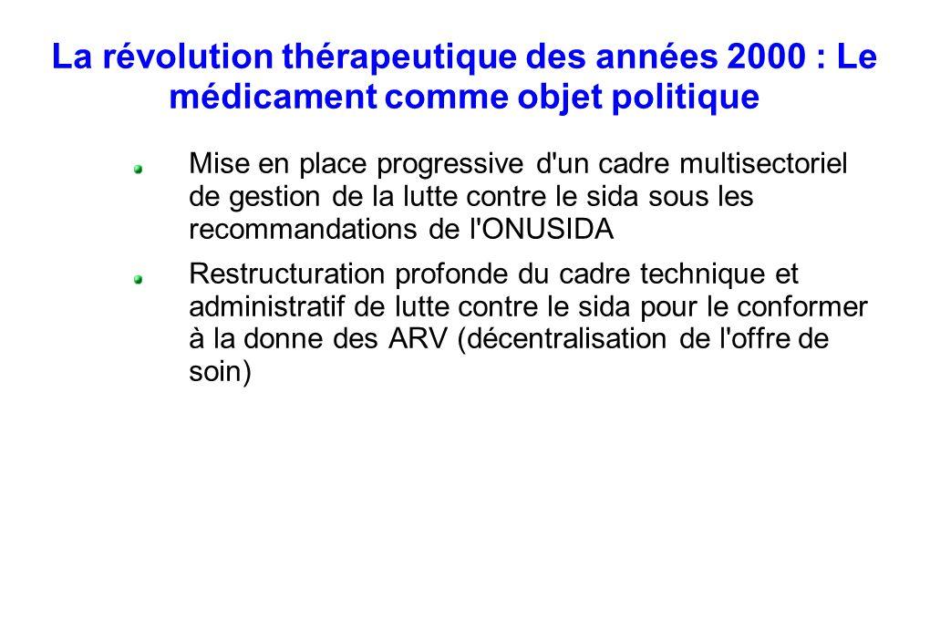 La révolution thérapeutique des années 2000 : Le médicament comme objet politique Mise en place progressive d'un cadre multisectoriel de gestion de la
