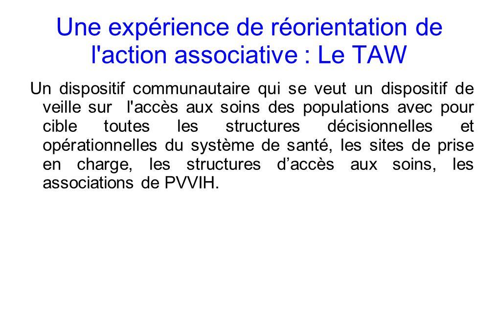 Une expérience de réorientation de l action associative : Le TAW Un dispositif communautaire qui se veut un dispositif de veille sur l accès aux soins des populations avec pour cible toutes les structures décisionnelles et opérationnelles du système de santé, les sites de prise en charge, les structures daccès aux soins, les associations de PVVIH.