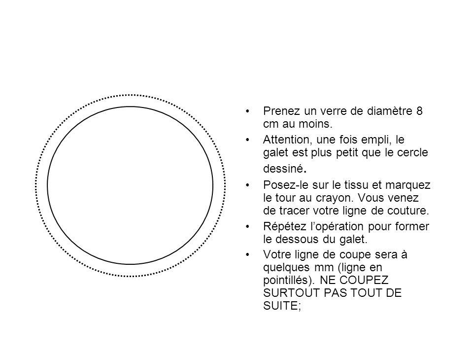Prenez un verre de diamètre 8 cm au moins. Attention, une fois empli, le galet est plus petit que le cercle dessiné. Posez-le sur le tissu et marquez