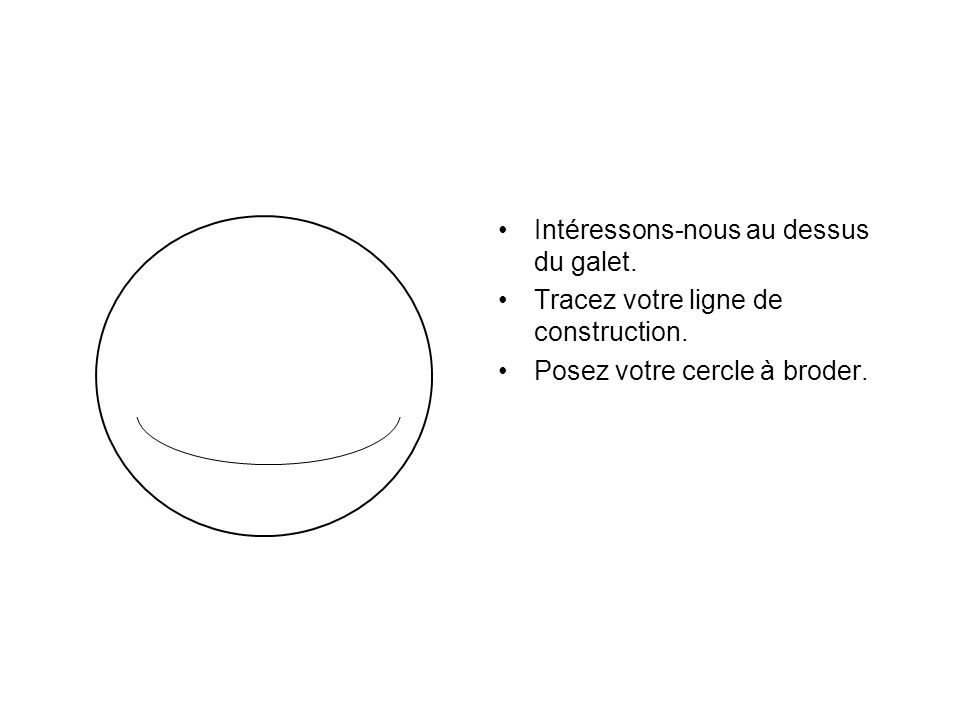 Intéressons-nous au dessus du galet. Tracez votre ligne de construction. Posez votre cercle à broder.