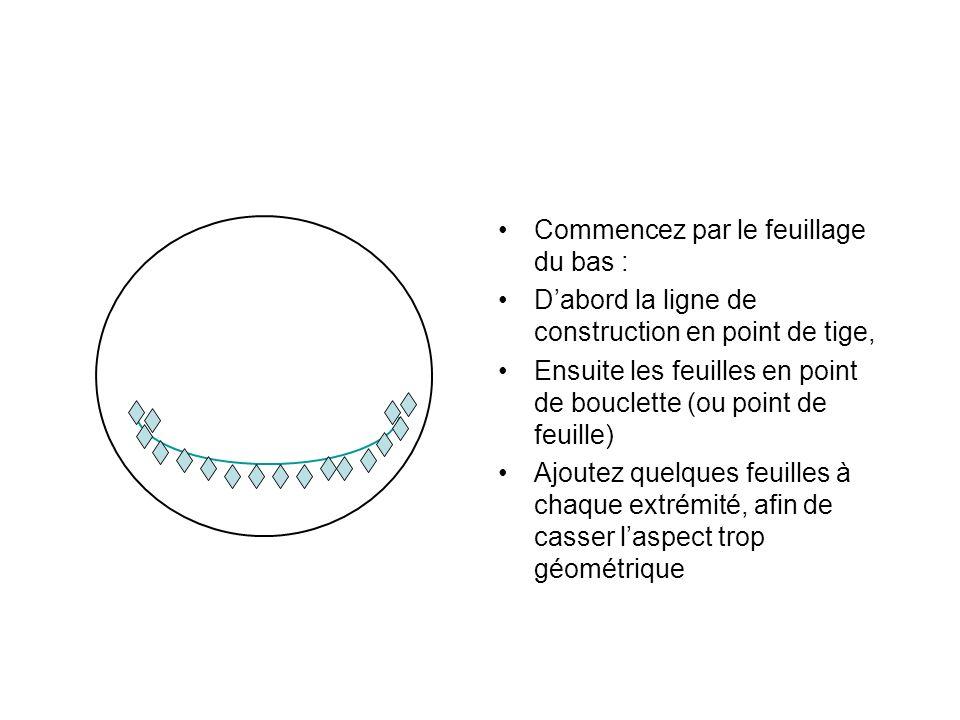 Commencez par le feuillage du bas : Dabord la ligne de construction en point de tige, Ensuite les feuilles en point de bouclette (ou point de feuille)
