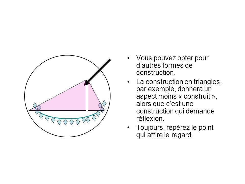 Vous pouvez opter pour dautres formes de construction. La construction en triangles, par exemple, donnera un aspect moins « construit », alors que ces