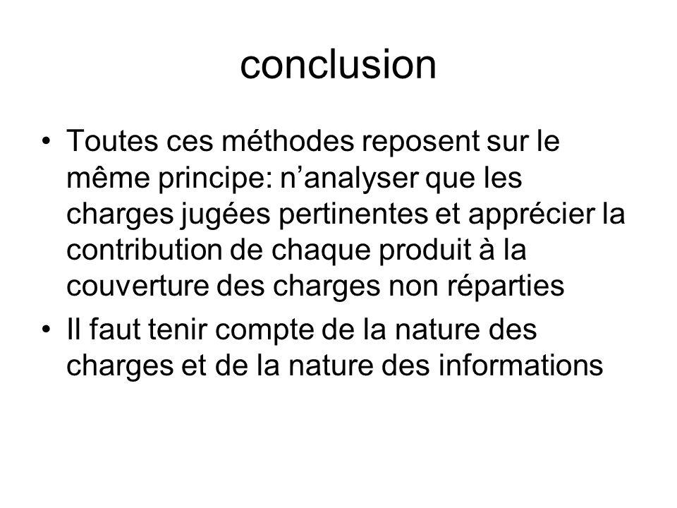 conclusion Toutes ces méthodes reposent sur le même principe: nanalyser que les charges jugées pertinentes et apprécier la contribution de chaque prod