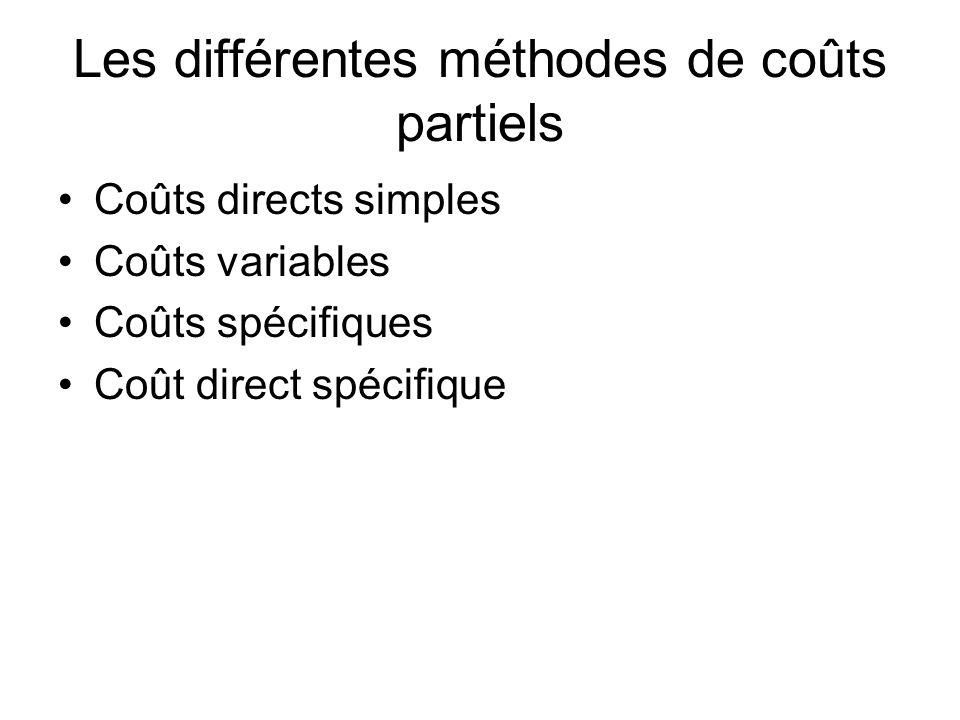 Les différentes méthodes de coûts partiels Coûts directs simples Coûts variables Coûts spécifiques Coût direct spécifique