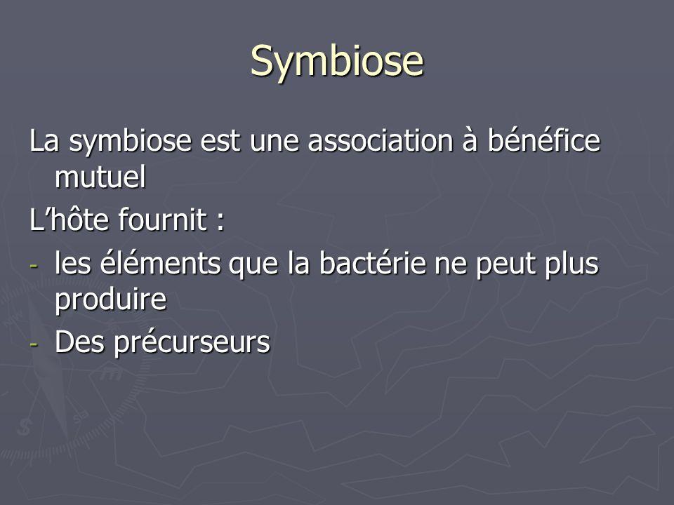 Symbiose La symbiose est une association à bénéfice mutuel Lhôte fournit : - les éléments que la bactérie ne peut plus produire - Des précurseurs