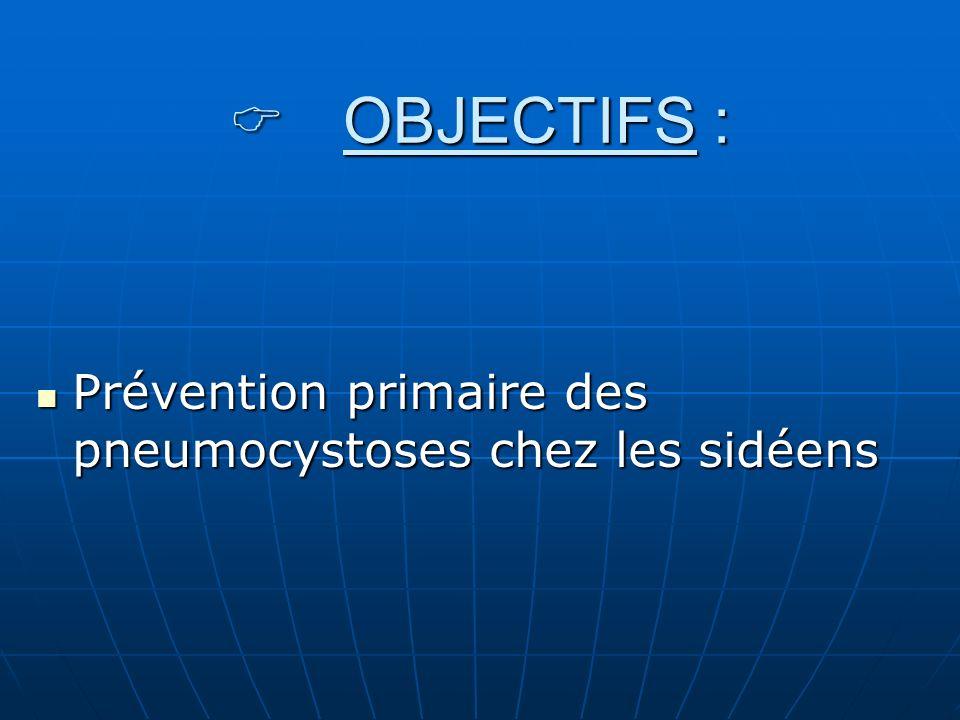 OBJECTIFS : OBJECTIFS : Prévention primaire des pneumocystoses chez les sidéens Prévention primaire des pneumocystoses chez les sidéens