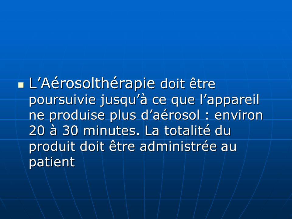 LAérosolthérapie doit être poursuivie jusquà ce que lappareil ne produise plus daérosol : environ 20 à 30 minutes. La totalité du produit doit être ad