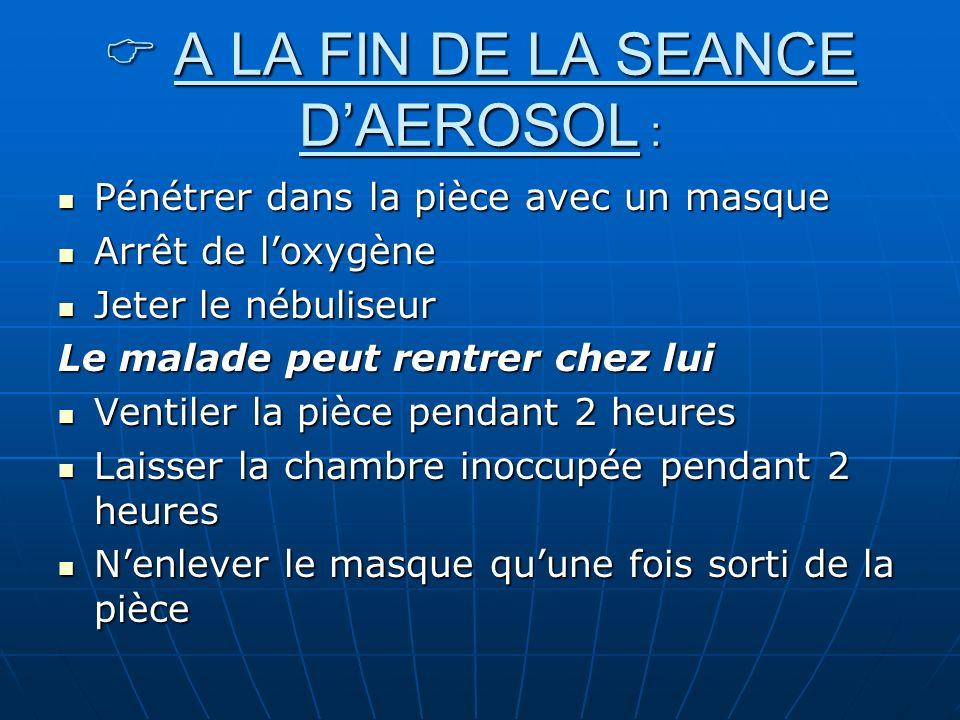 A LA FIN DE LA SEANCE DAEROSOL : A LA FIN DE LA SEANCE DAEROSOL : Pénétrer dans la pièce avec un masque Pénétrer dans la pièce avec un masque Arrêt de