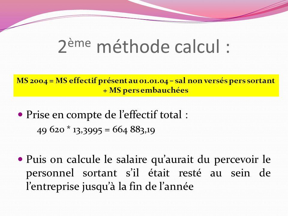 2 ème méthode calcul : Prise en compte de leffectif total : 49 620 * 13,3995 = 664 883,19 Puis on calcule le salaire quaurait du percevoir le personne