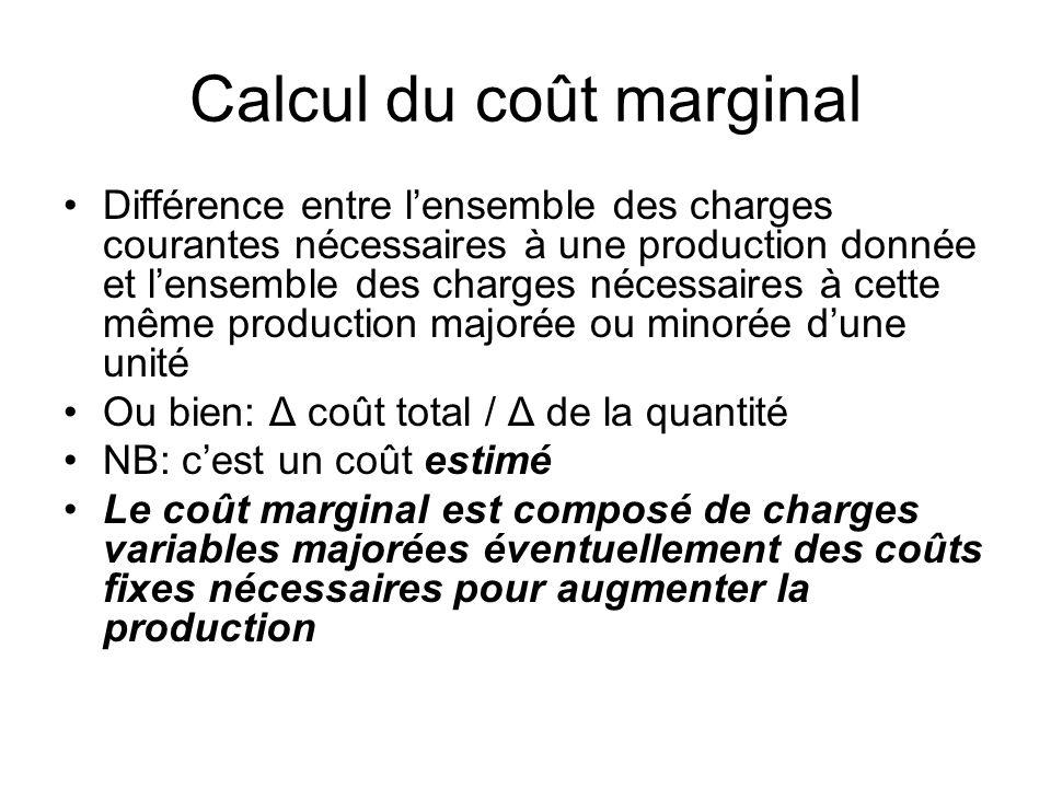 Calcul du coût marginal Différence entre lensemble des charges courantes nécessaires à une production donnée et lensemble des charges nécessaires à ce
