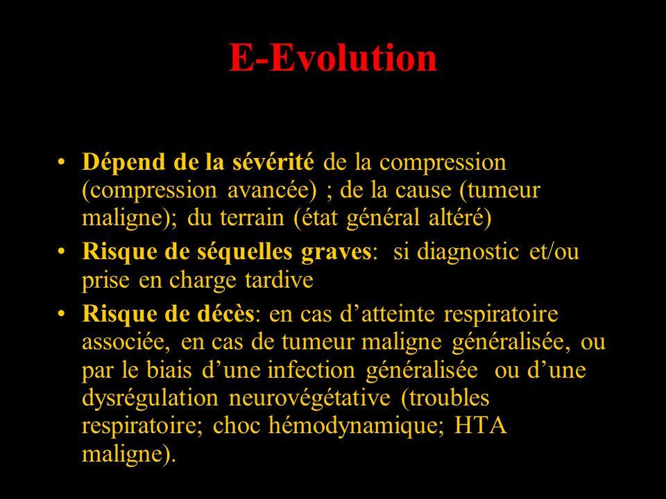 E-Evolution Dépend de la sévérité de la compression (compression avancée) ; de la cause (tumeur maligne); du terrain (état général altéré) Risque de s