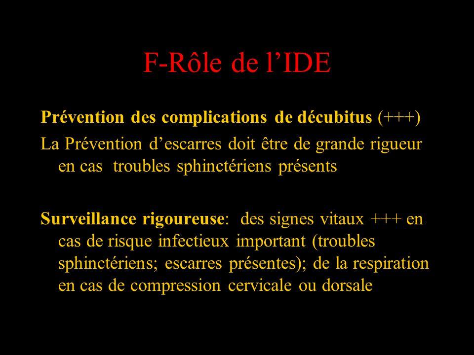 F-Rôle de lIDE Prévention des complications de décubitus (+++) La Prévention descarres doit être de grande rigueur en cas troubles sphinctériens prése