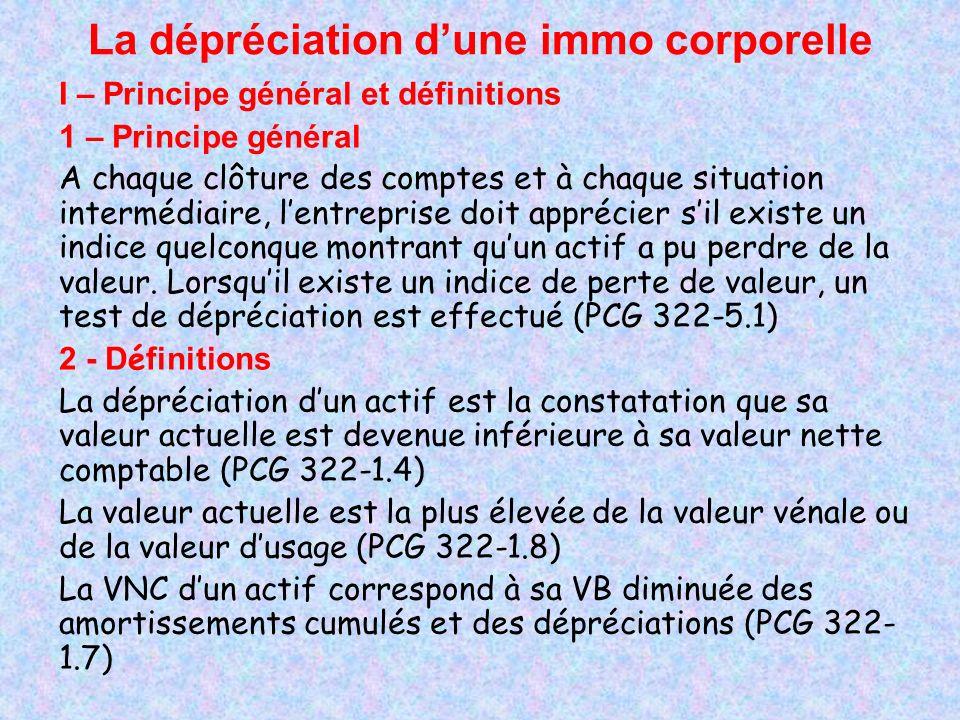 La dépréciation dune immo corporelle II – Méthodologie de détermination dune dépréciation Plusieurs étapes : 1 – Appréciation dun indice quelconque montrant quun actif a pu perdre de la valeur (pas dindice = pas de dépréciation) 2 – En présence dun indice de perte de valeur : test de dépréciation (comparaison de la VNC à la valeur actuelle) 3 – SI VNC < valeur actuelle : dépréciation à constater