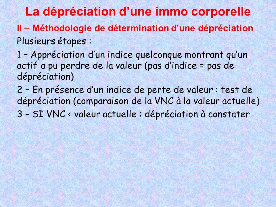 La dépréciation dune immo corporelle II – Méthodologie de détermination dune dépréciation Plusieurs étapes : 1 – Appréciation dun indice quelconque mo