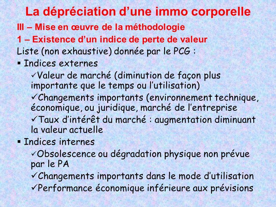 La dépréciation dune immo corporelle III – Mise en œuvre de la méthodologie 1 – Existence dun indice de perte de valeur Liste (non exhaustive) donnée