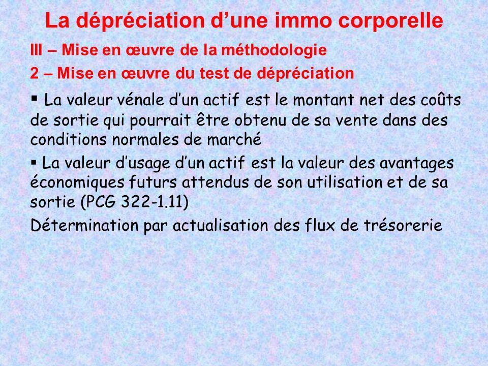 La dépréciation dune immo corporelle III – Mise en œuvre de la méthodologie 2 – Mise en œuvre du test de dépréciation La valeur vénale dun actif est l