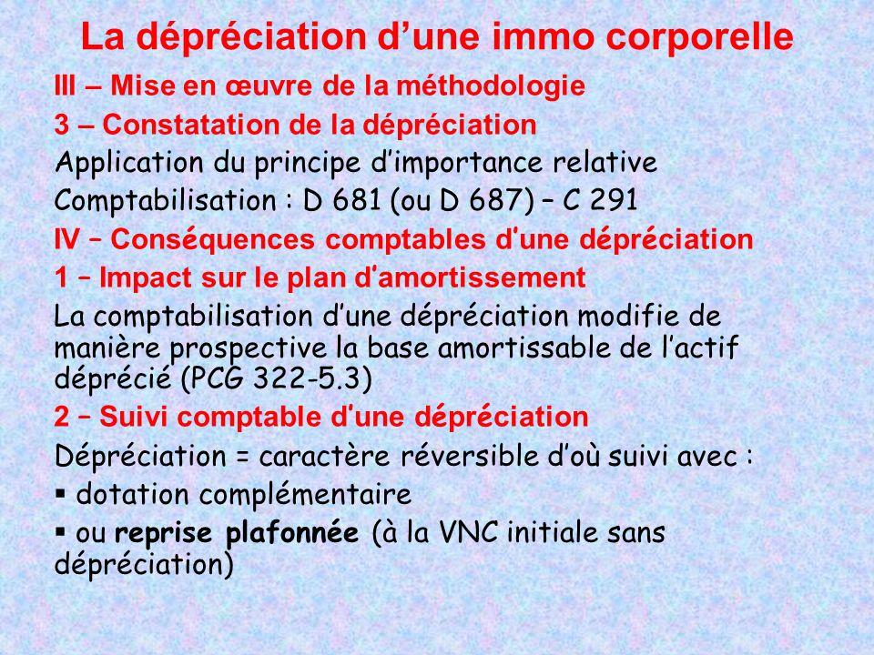 La dépréciation dune immo corporelle IV – Position fiscale La limitation de déductibilité fiscale des dépréciations a entraîné une solution technique complexe visant à ne pas pénaliser les entreprises.
