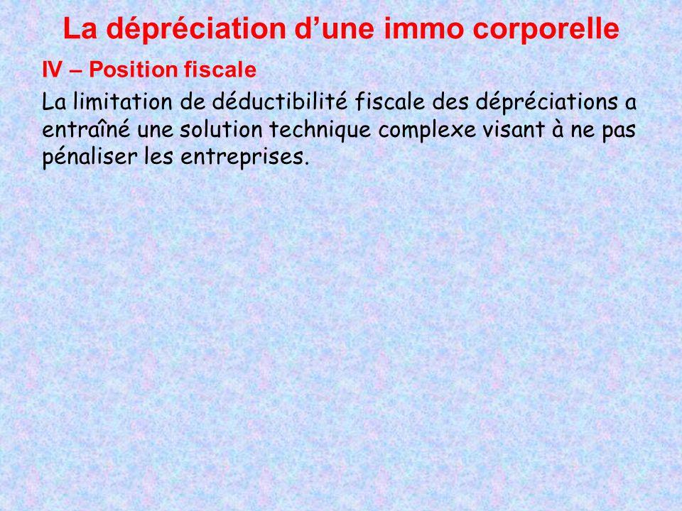 La dépréciation dune immo corporelle IV – Position fiscale La limitation de déductibilité fiscale des dépréciations a entraîné une solution technique