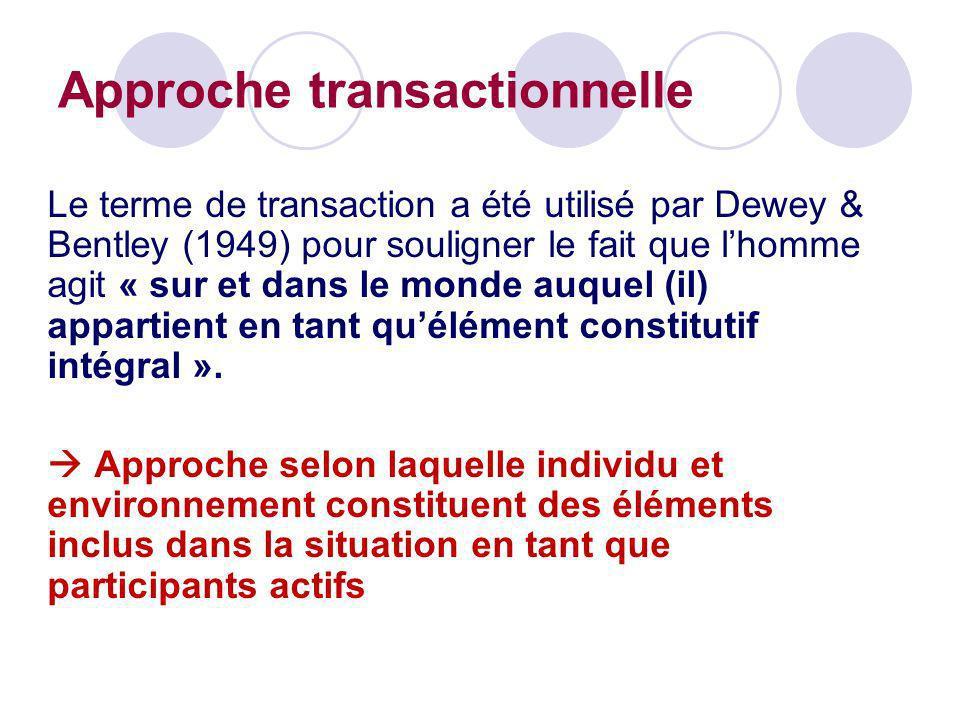 Le terme de transaction a été utilisé par Dewey & Bentley (1949) pour souligner le fait que lhomme agit « sur et dans le monde auquel (il) appartient