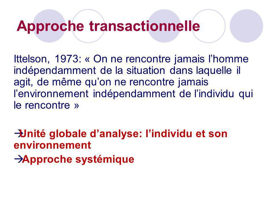 Ittelson, 1973: « On ne rencontre jamais lhomme indépendamment de la situation dans laquelle il agit, de même quon ne rencontre jamais lenvironnement
