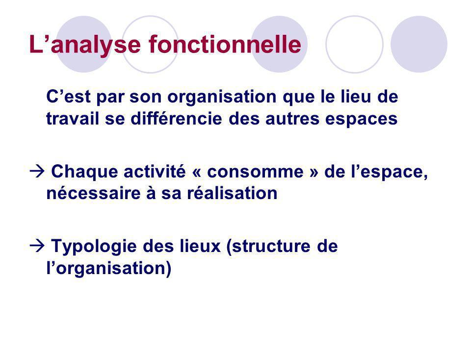Lanalyse fonctionnelle Cest par son organisation que le lieu de travail se différencie des autres espaces Chaque activité « consomme » de lespace, néc