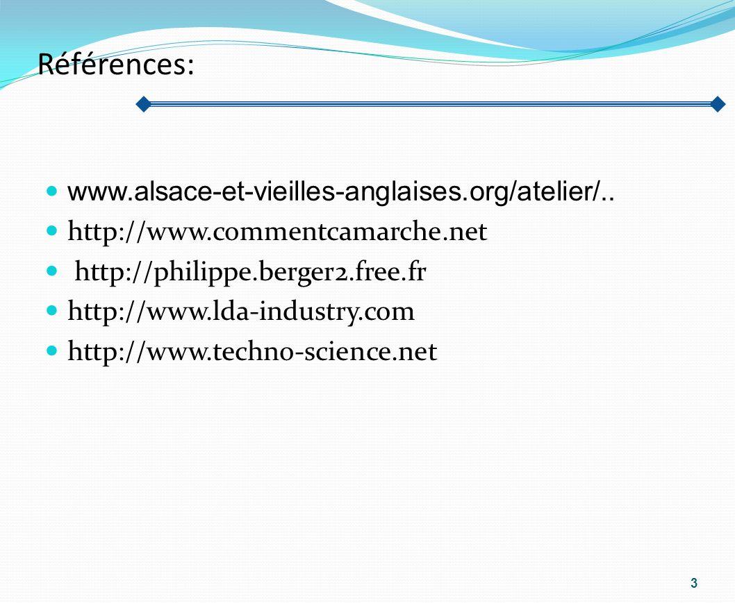 Références: www.alsace-et-vieilles-anglaises.org/atelier/.. http://www.commentcamarche.net http://philippe.berger2.free.fr http://www.lda-industry.com