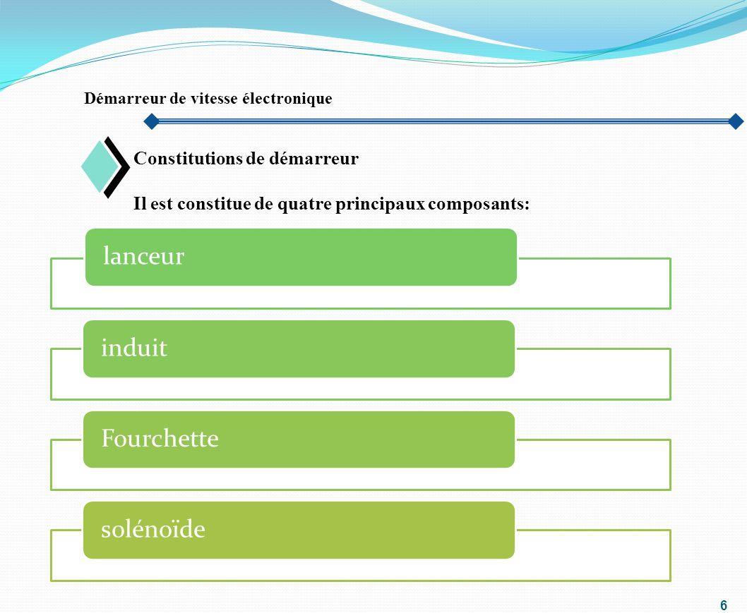 6 Démarreur de vitesse électronique Constitutions de démarreur Il est constitue de quatre principaux composants: o lanceurinduitFourchettesolénoïde