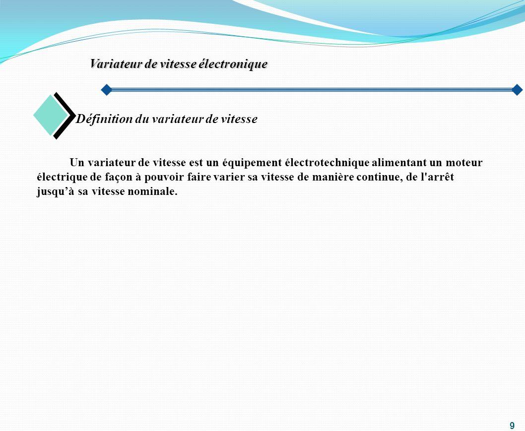 10 Constitutions de variateur Variateur de vitesse électronique Le variateur est constituée principalement de: Convertisseur statique Électronique de commande