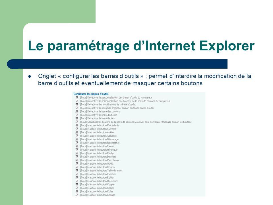 Le paramétrage dInternet Explorer Onglet « configurer les barres doutils » : permet dinterdire la modification de la barre doutils et éventuellement de masquer certains boutons