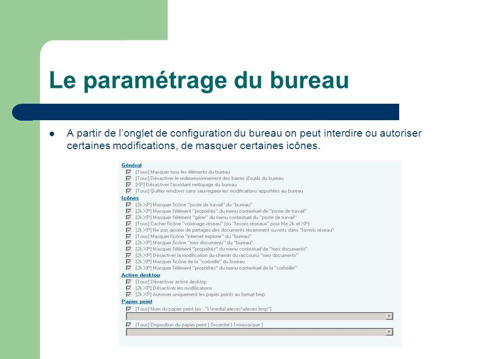 Le paramétrage du bureau A partir de longlet de configuration du bureau on peut interdire ou autoriser certaines modifications, de masquer certaines icônes.