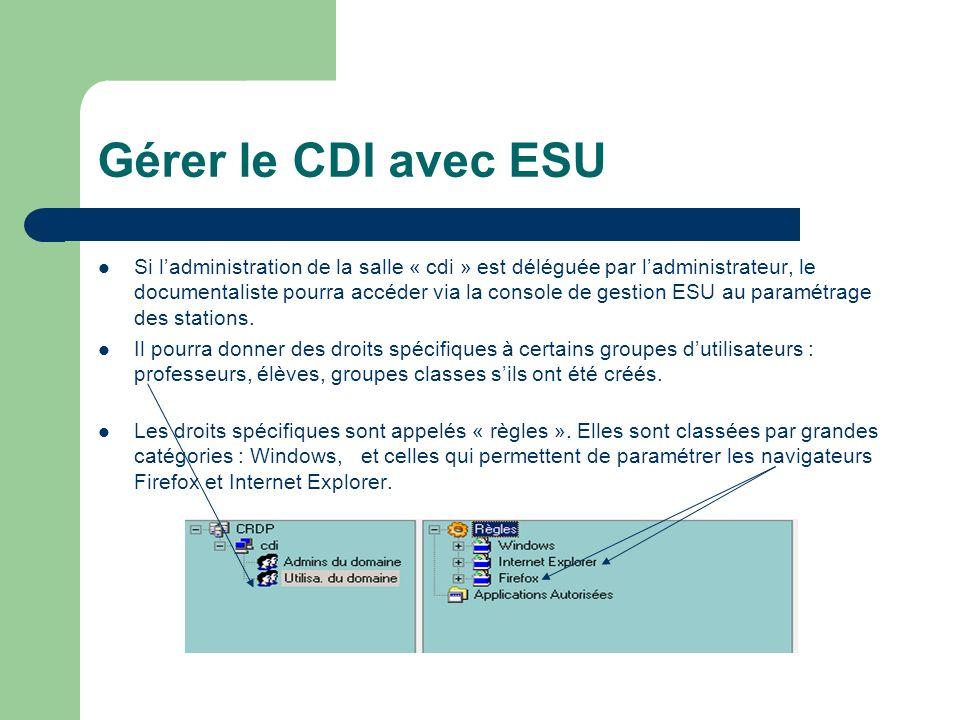 Gérer le CDI avec ESU Si ladministration de la salle « cdi » est déléguée par ladministrateur, le documentaliste pourra accéder via la console de gestion ESU au paramétrage des stations.