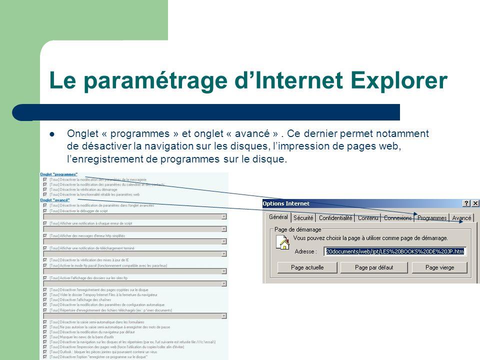 Le paramétrage dInternet Explorer Onglet « programmes » et onglet « avancé ».