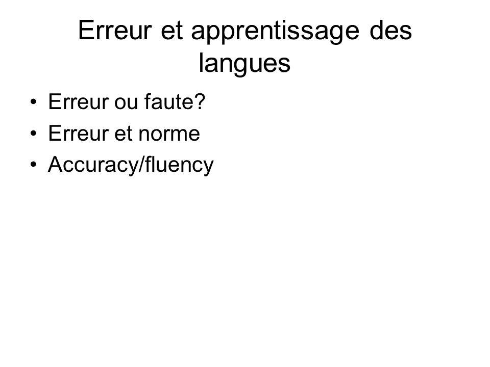 Erreur et apprentissage des langues Erreur ou faute? Erreur et norme Accuracy/fluency