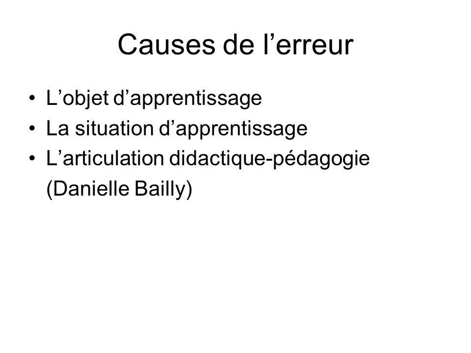 Causes de lerreur Lobjet dapprentissage La situation dapprentissage Larticulation didactique-pédagogie (Danielle Bailly)