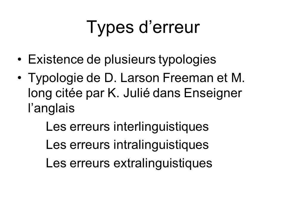 Types derreur Existence de plusieurs typologies Typologie de D. Larson Freeman et M. long citée par K. Julié dans Enseigner langlais Les erreurs inter