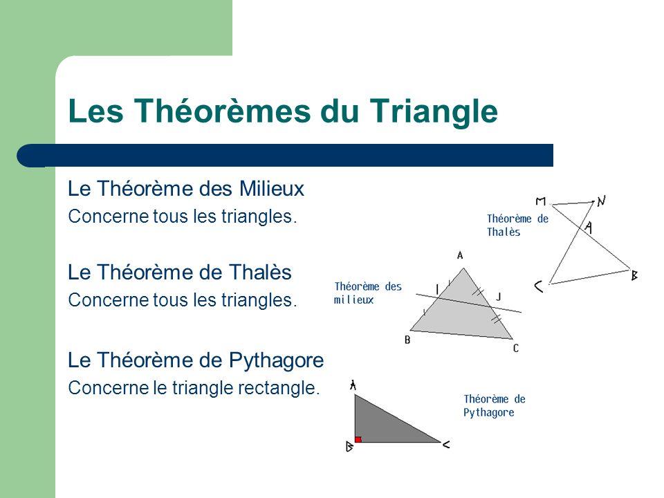 Les Théorèmes du Triangle Le Théorème des Milieux Concerne tous les triangles. Le Théorème de Thalès Concerne tous les triangles. Le Théorème de Pytha