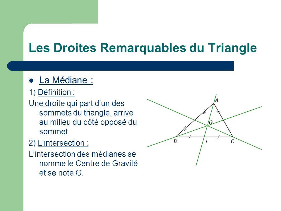 Les Droites Remarquables du Triangle La Médiane : 1) Définition : Une droite qui part dun des sommets du triangle, arrive au milieu du côté opposé du