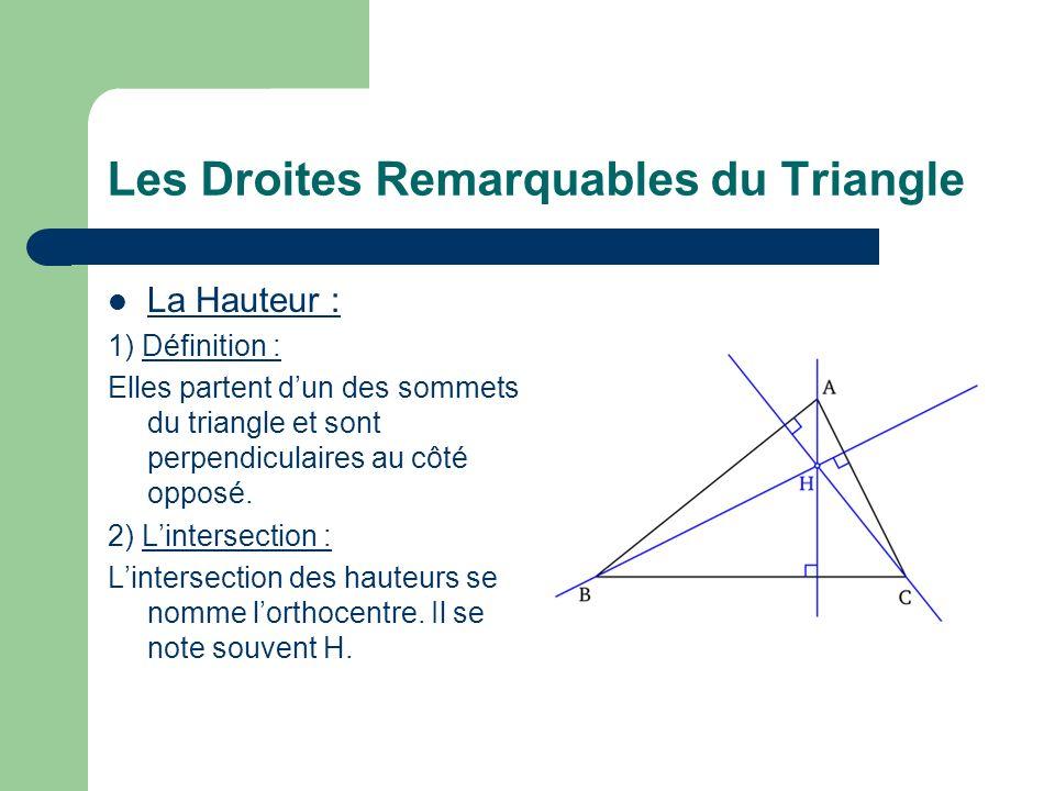 Les Droites Remarquables du Triangle La Hauteur : 1) Définition : Elles partent dun des sommets du triangle et sont perpendiculaires au côté opposé.