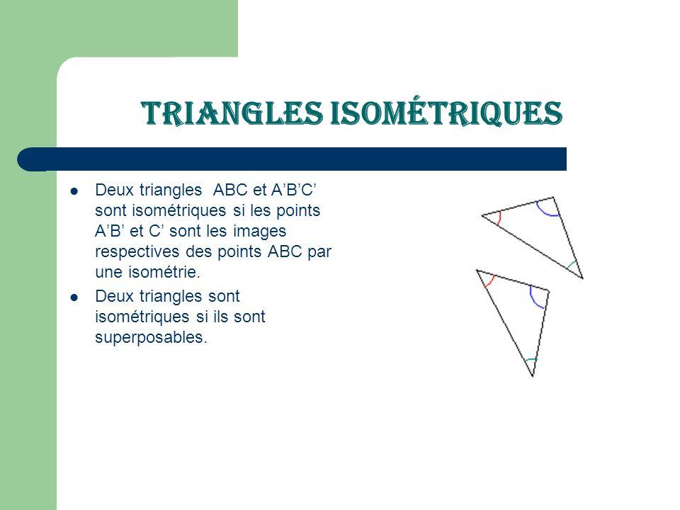 Triangles isométriques Deux triangles ABC et ABC sont isométriques si les points AB et C sont les images respectives des points ABC par une isométrie.