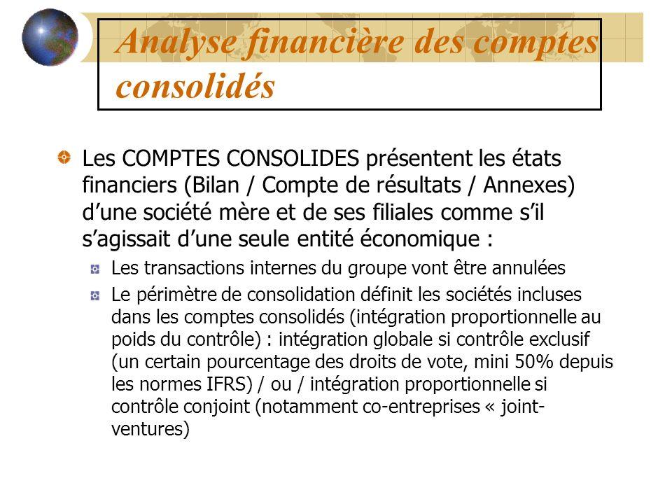 Analyse financière des comptes consolidés Les COMPTES CONSOLIDES présentent les états financiers (Bilan / Compte de résultats / Annexes) dune société