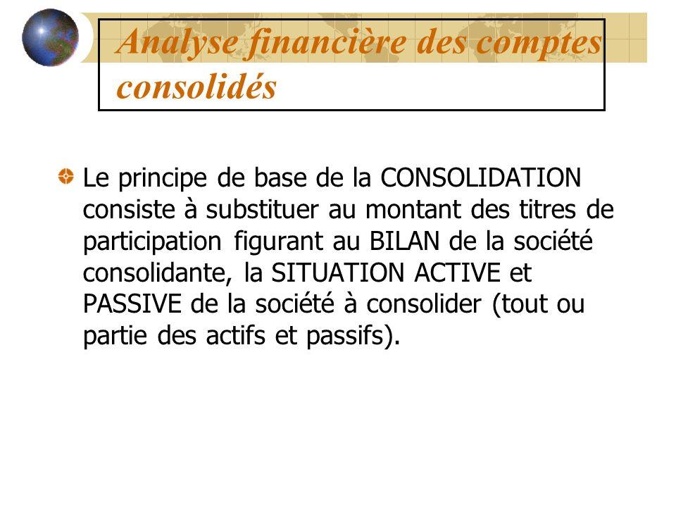 Analyse financière des comptes consolidés Le principe de base de la CONSOLIDATION consiste à substituer au montant des titres de participation figuran