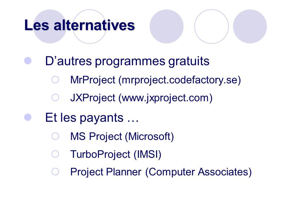Les alternatives Dautres programmes gratuits MrProject (mrproject.codefactory.se) JXProject (www.jxproject.com) Et les payants … MS Project (Microsoft