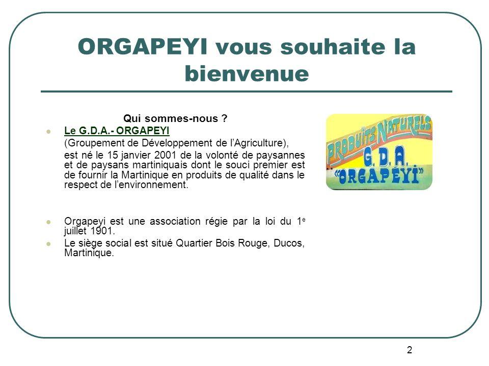 2 ORGAPEYI vous souhaite la bienvenue Qui sommes-nous ? Le G.D.A.- ORGAPEYI (Groupement de Développement de lAgriculture), est né le 15 janvier 2001 d