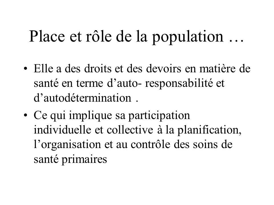 Place et rôle de la population … Elle a des droits et des devoirs en matière de santé en terme dauto- responsabilité et dautodétermination. Ce qui imp