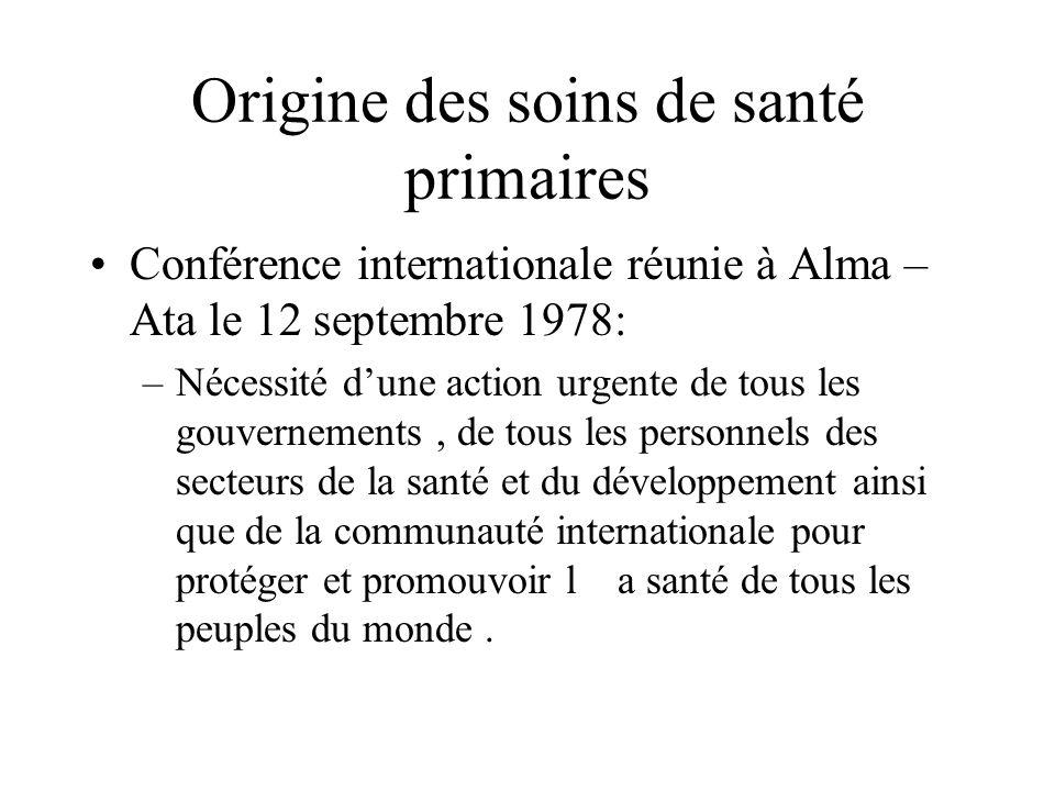 Origine des soins de santé primaires Conférence internationale réunie à Alma – Ata le 12 septembre 1978: –Nécessité dune action urgente de tous les gouvernements, de tous les personnels des secteurs de la santé et du développement ainsi que de la communauté internationale pour protéger et promouvoir la santé de tous les peuples du monde.