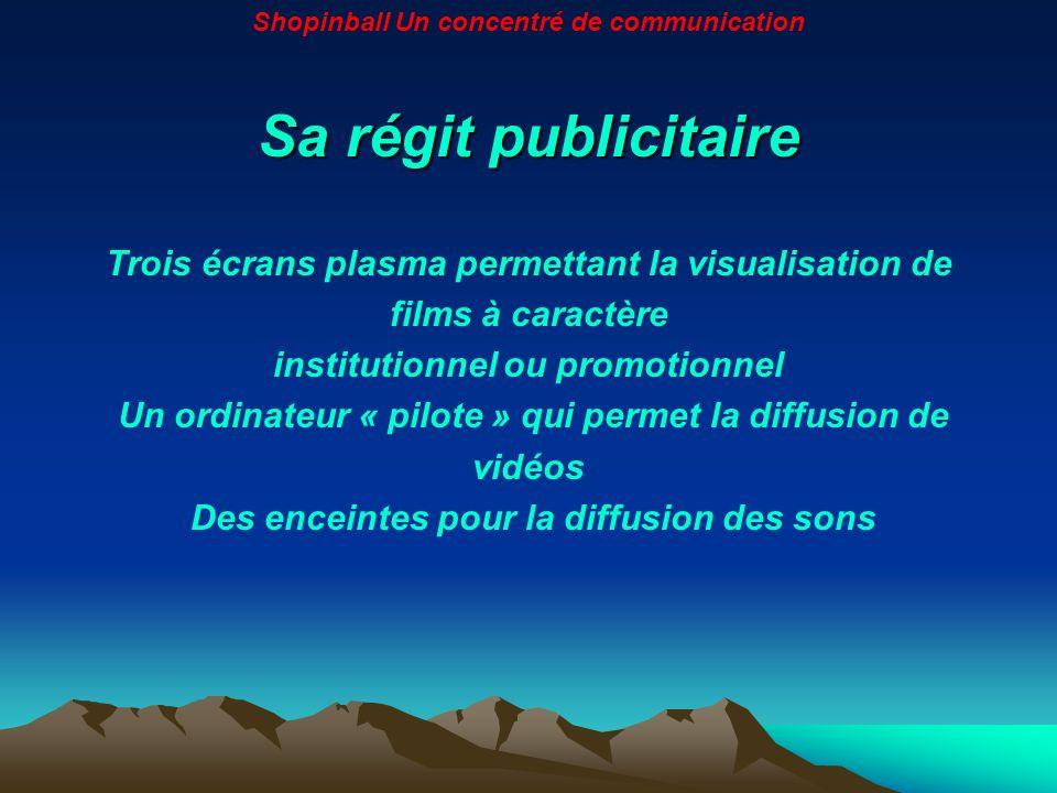 Sa régit publicitaire Trois écrans plasma permettant la visualisation de films à caractère institutionnel ou promotionnel Un ordinateur « pilote » qui