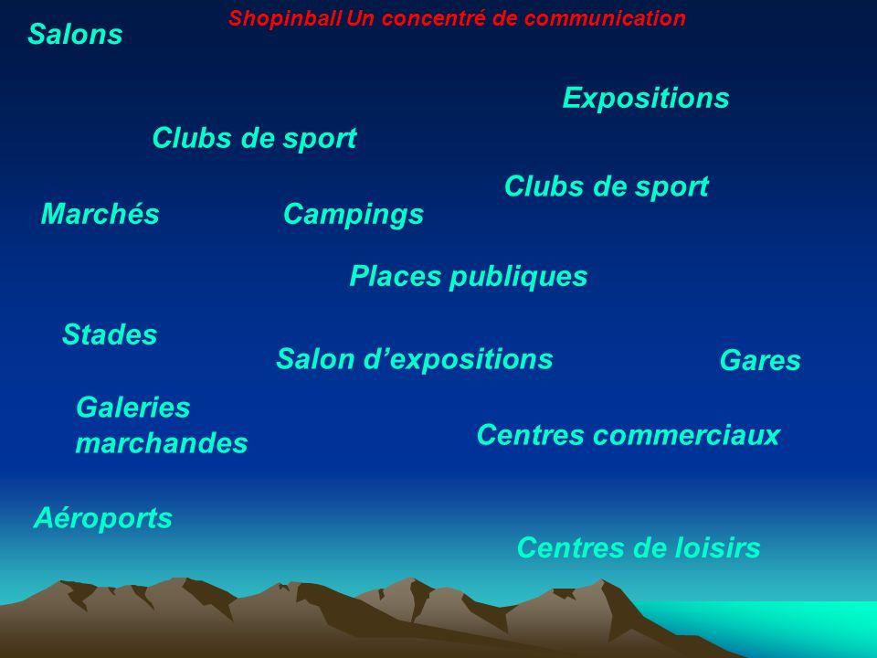 Salons Expositions Clubs de sport Salon dexpositions Clubs de sport Aéroports Centres de loisirs Galeries marchandes Stades Centres commerciaux Places