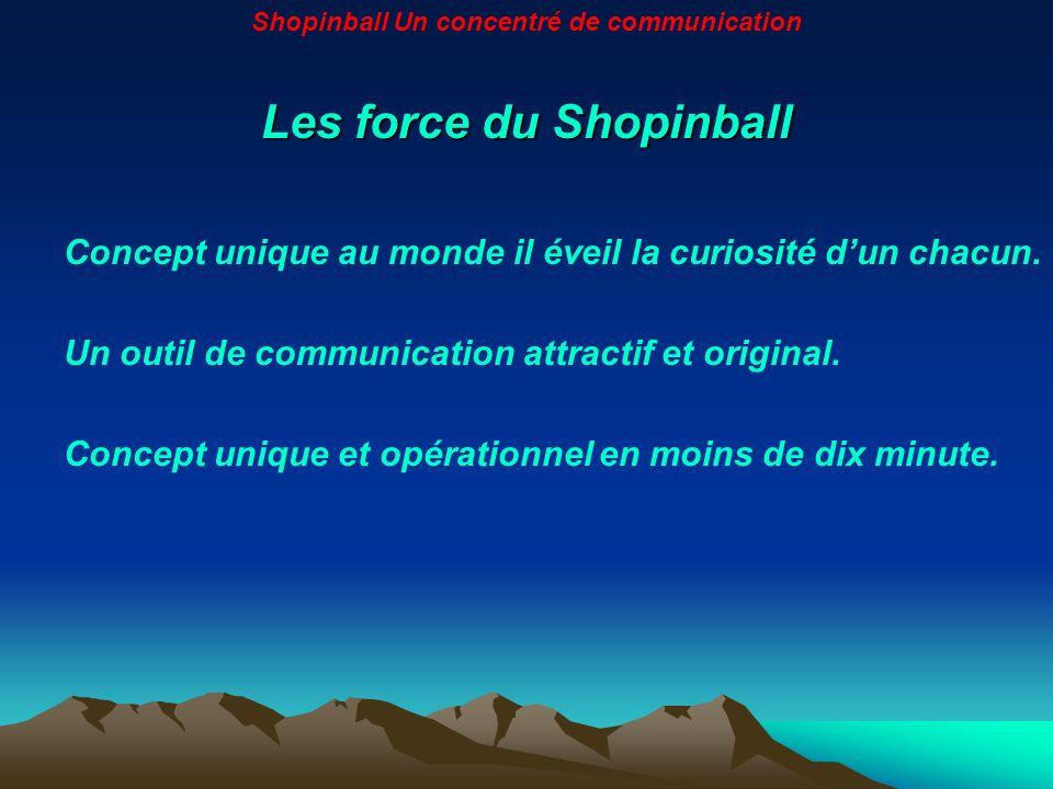 Les force du Shopinball Concept unique au monde il éveil la curiosité dun chacun. Un outil de communication attractif et original. Concept unique et o