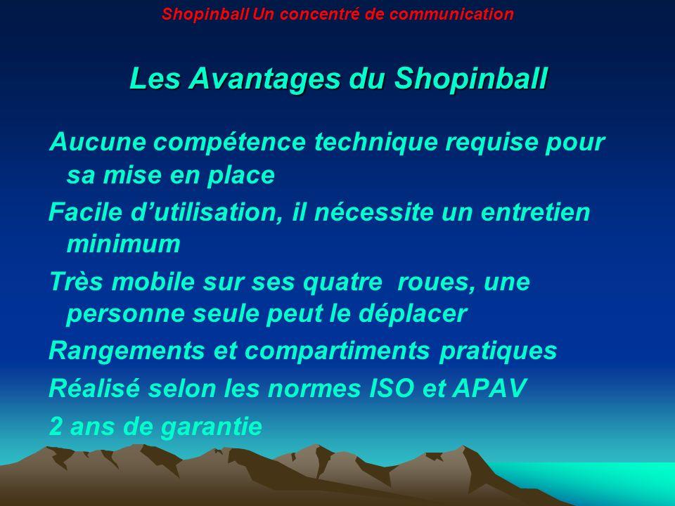 Les Avantages du Shopinball Aucune compétence technique requise pour sa mise en place Facile dutilisation, il nécessite un entretien minimum Très mobi