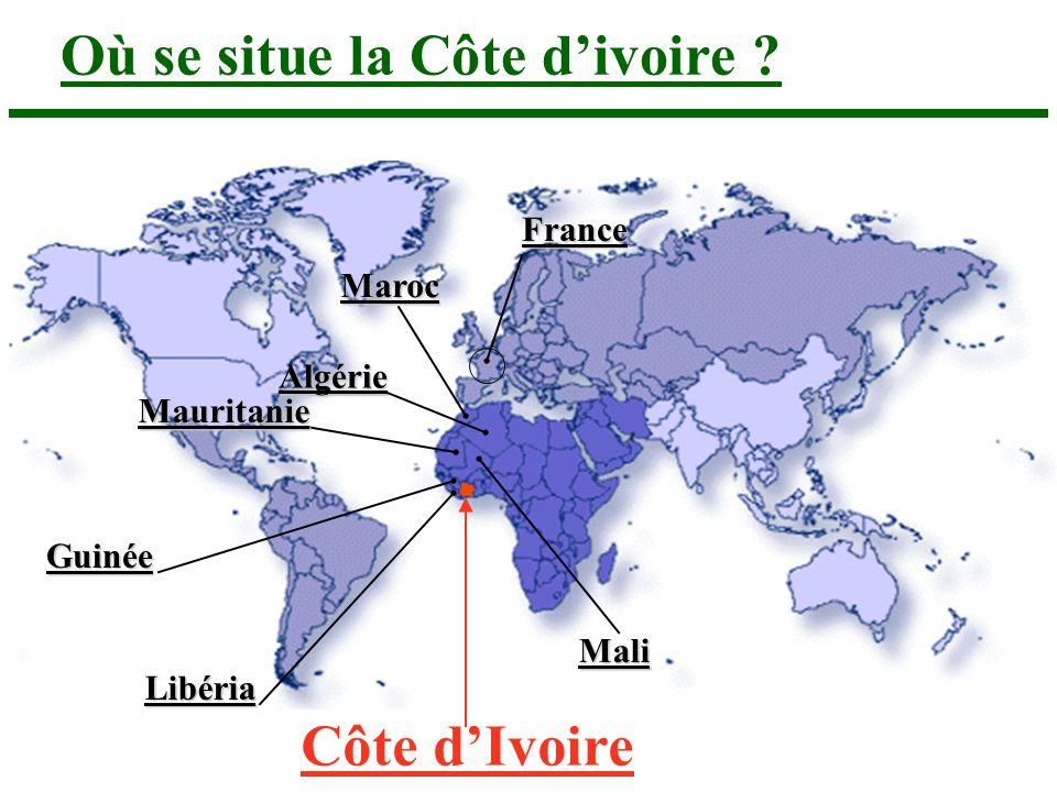 Côte dIvoire Algérie Mauritanie Mali Guinée Maroc Où se situe la Côte divoire ? France Libéria